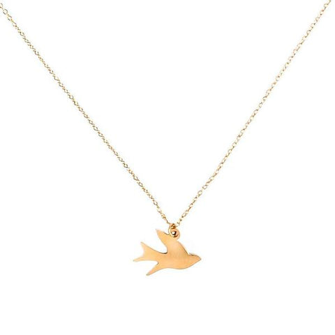 Gold-plated chain with gold-plated bird pendant  - Eden Song of Freedom Necklace | Shop Ethical Jewellery & Fair Trade Gifts Melbourne at ONLY JUST