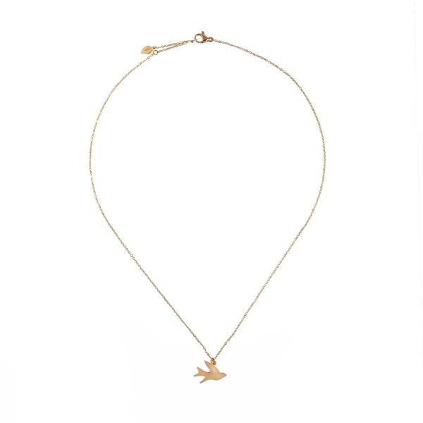 Gold-plated chain with gold-plated bird pendant