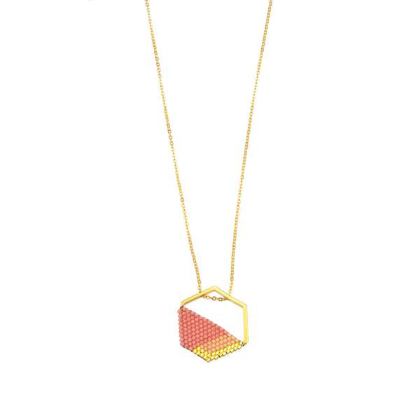 gold plated chain with gold plated pendant and hand woven pink glass beads - Eden Strength in Hope Collection -  Shop Ethical Jewellery & Fair Trade Gifts Melbourne at ONLY JUST