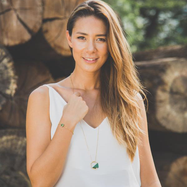 woman wears gold plated chain with gold plated pendant and hand woven teal glass beads - Eden Strength in Hope Collection -  Shop Ethical Jewellery & Fair Trade Gifts Melbourne at ONLY JUST