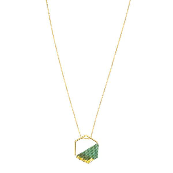 gold plated chain with gold plated pendant and hand woven teal glass beads - Eden Strength in Hope Collection -  Shop Ethical Jewellery & Fair Trade Gifts Melbourne at ONLY JUST