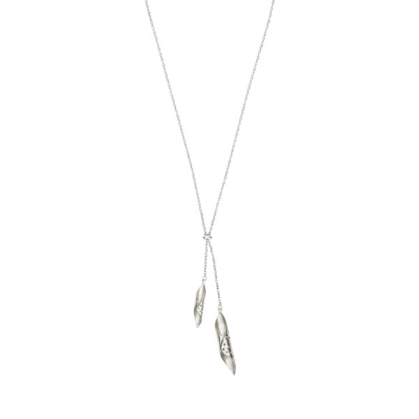 silver chrysalis pendants handing from a silver chain - Shop Ethical Jewellery & Fair Trade Gifts Melbourne at ONLY JUST