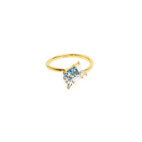 Gold banded ring with blue stone setting - from Eden's Salt & light collection  Shop Ethical Jewellery & Fair Trade Gifts Melbourne at ONLY JUST