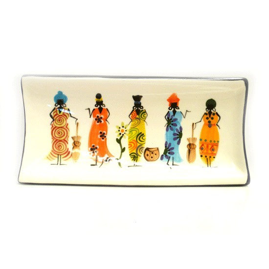 Kapula handmade & hand painted rectangular ceramic dish - white background with african ladies motif - Shop Fair Trade, Handmade, Ethical Gifts and homewares at ONLY JUST