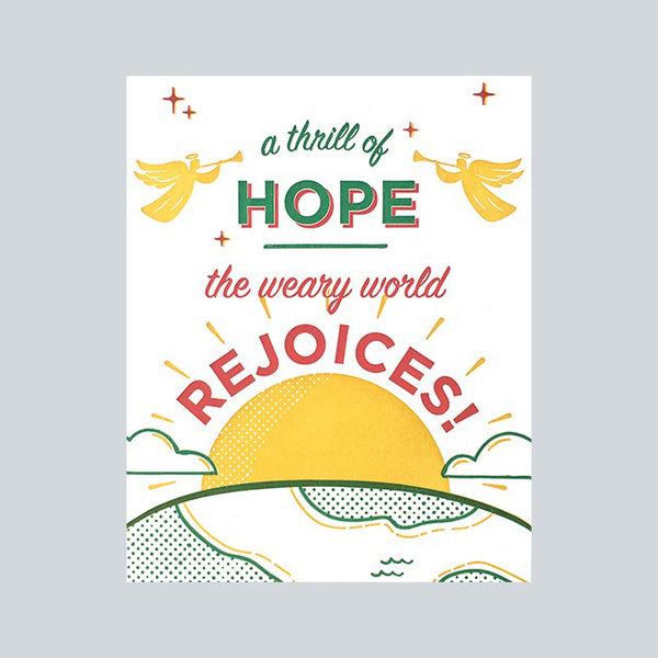"Fair trade handprinted card depicting a sunrise and angels in yellow, green and red with message ""a thrills of hope. The weary world rejoices"""