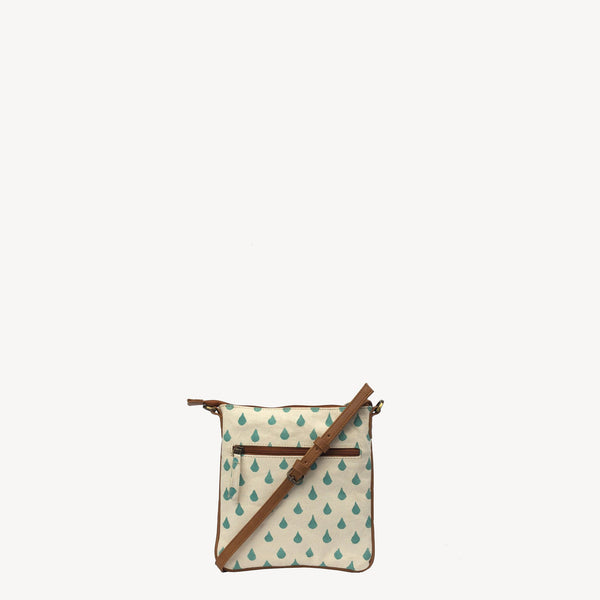 handmade joyn crossbody bag made with block printed cotton - rain drop pattern and tan leather details - Shop Joyn Fair Trade and Vegan Handbags at ONLY JUST