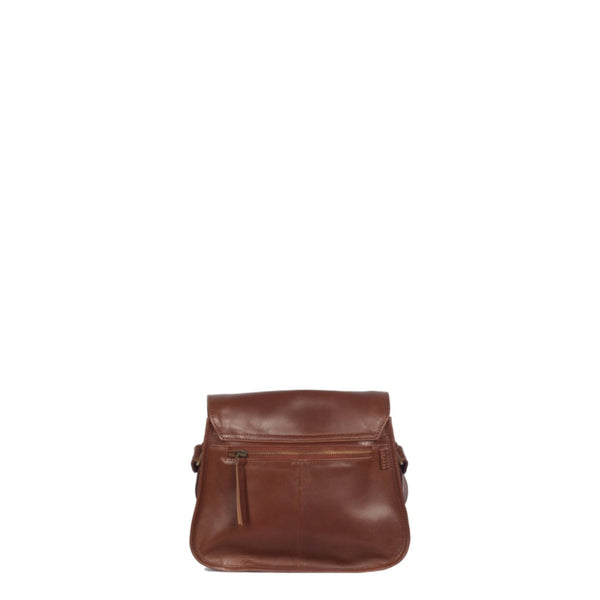 Back view of brown leather satchel with zipped exterior pocket