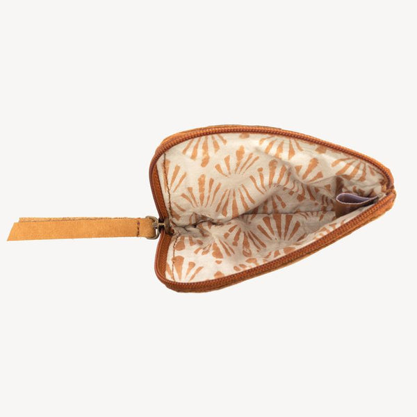 inside cotton block printed lining of the Joyn Handmade leather zip up pouch – Shop Joyn Fair Trade and Vegan Handbags at ONLY JUST