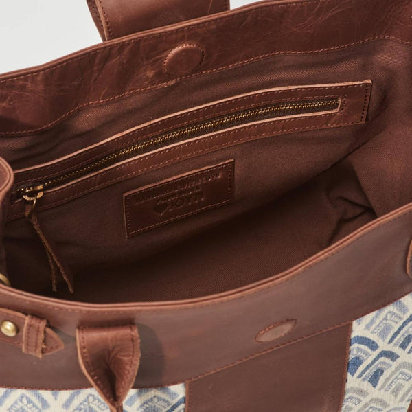 Inside view of brown leather handbag