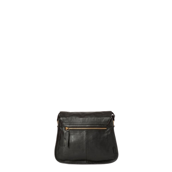 Back view of black leather satchel with zipped exterior pocket