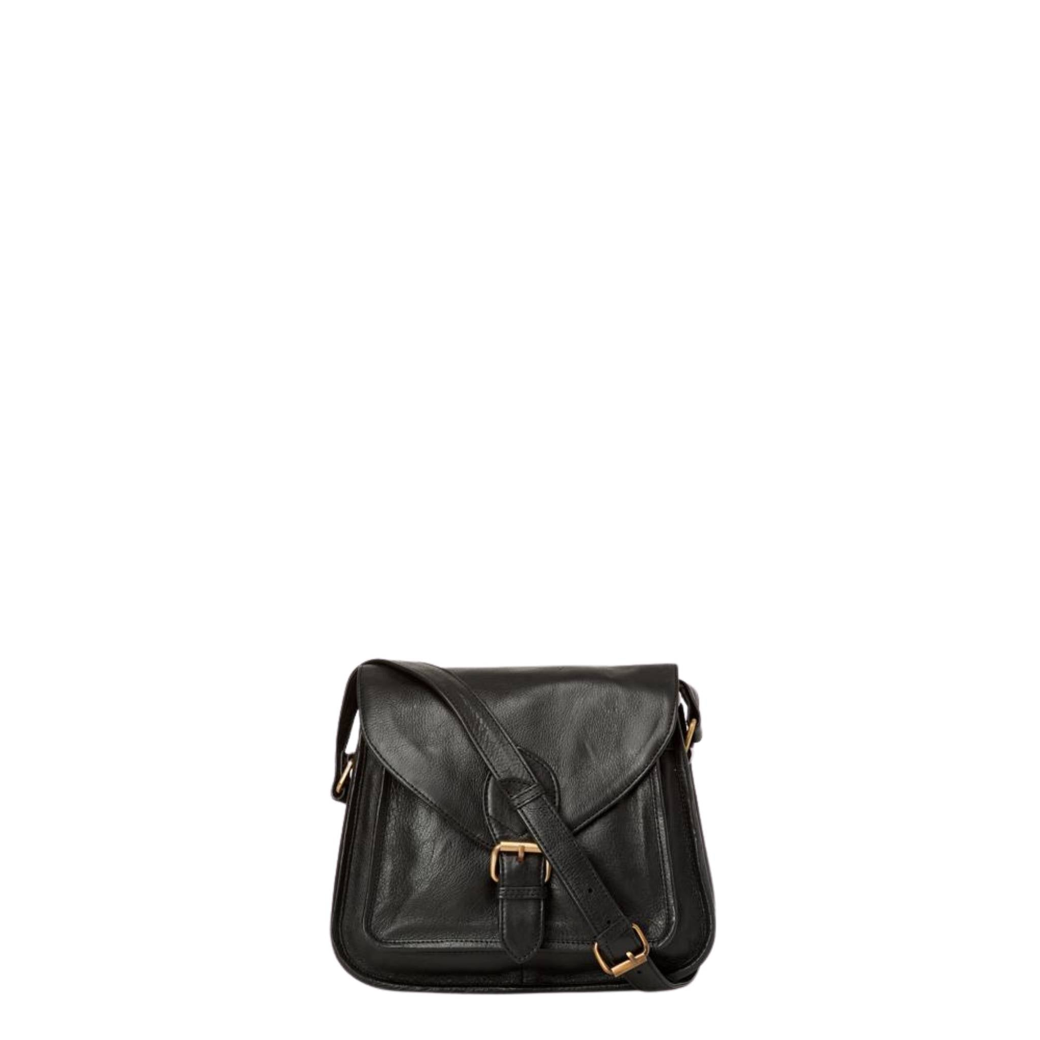 Black leather satchel with foldover front flap and buckle