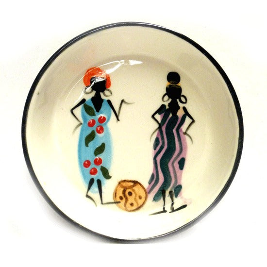 Kapula handmade & handpainted small rounder dish - white background with african ladies motif - Shop Fair Trade, Handmade, Ethical Gifts and homewares at ONLY JUST