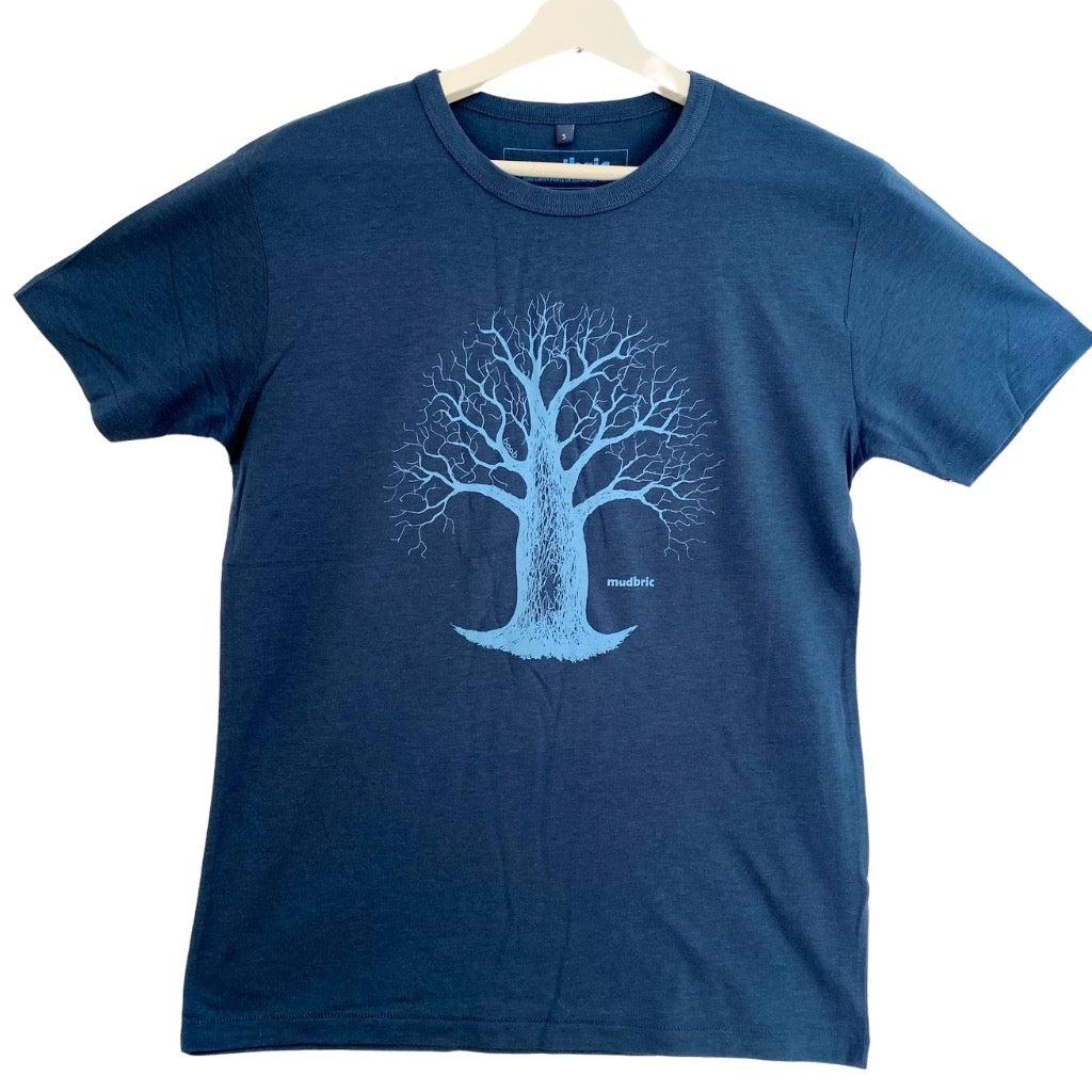 blue t-shirt with boab tree design