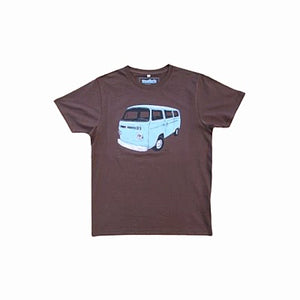 brown t-shirt with vintage combi van design