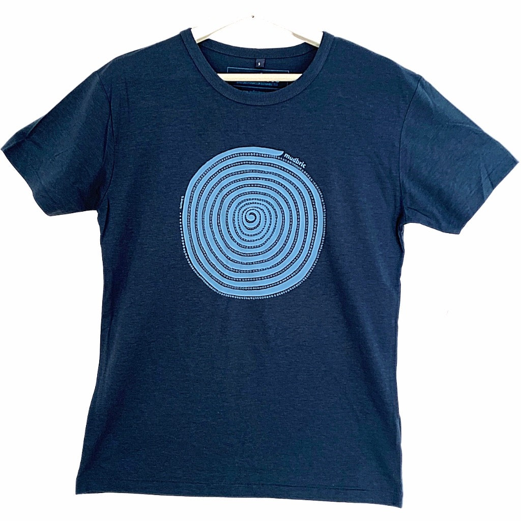 blue t-shirt with spiral pattern
