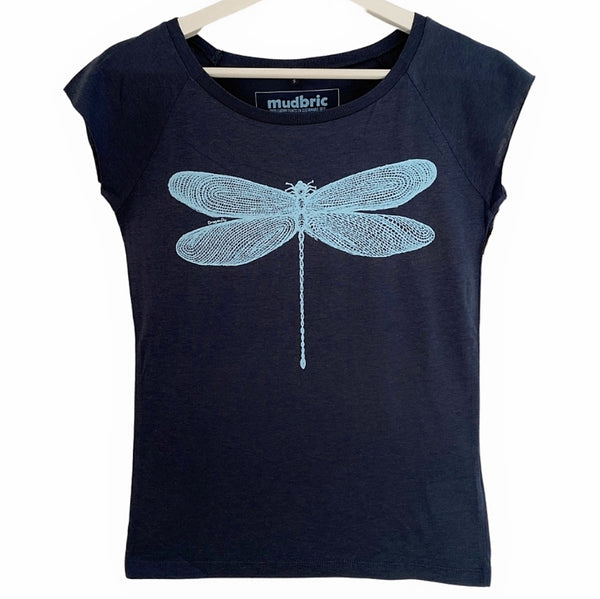 blue t-shirt with dragonfly design