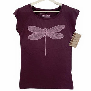 purple t-shirt with dragonfly design