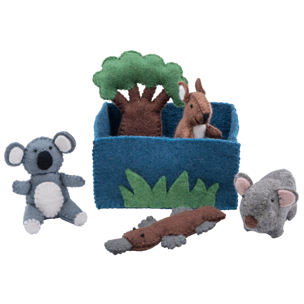 Felt toys play set Australian animals