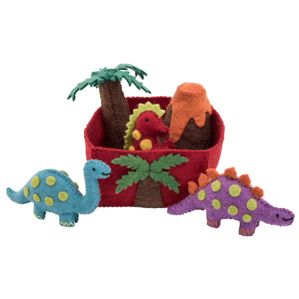 Felt toys play set dinosaurs