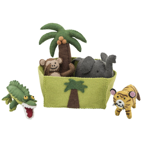 Felt toys play set jungle animals