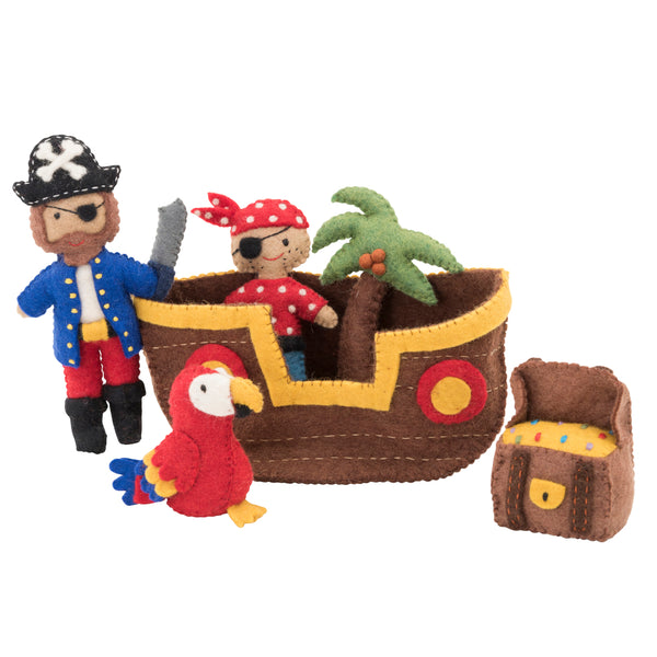 Felt toys play set pirates