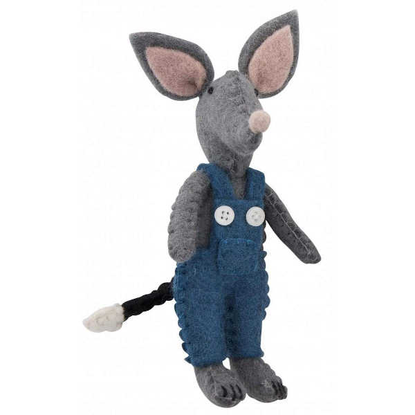 felt bilby doll in blue overalls