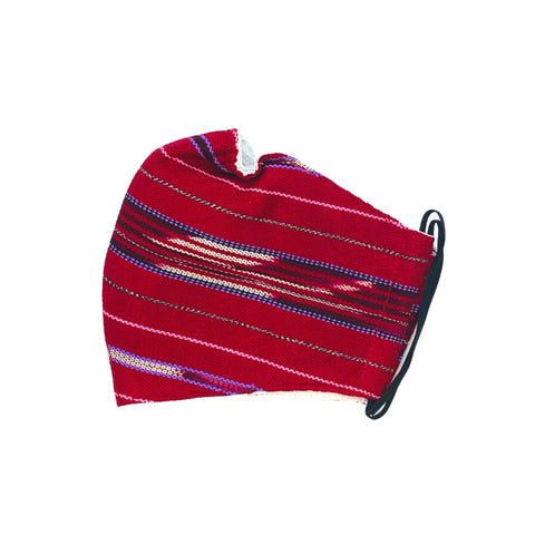 Face mask in traditional Karen fabric red
