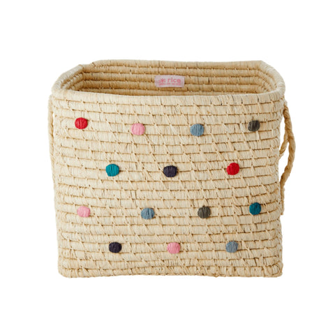 Rice Raffia Square Basket - Madagascar