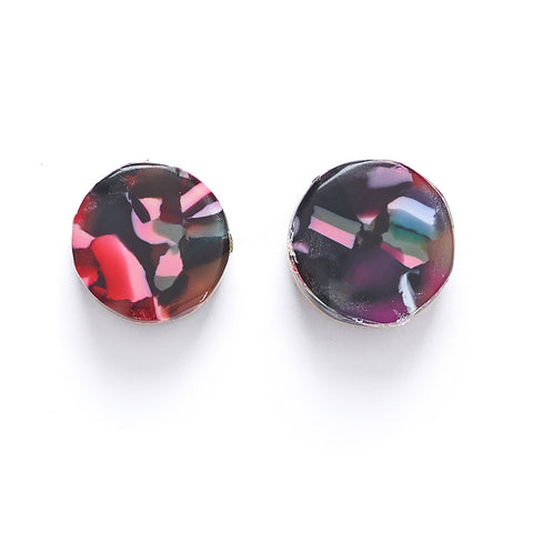 round resin stud earring with blue and pink pattern