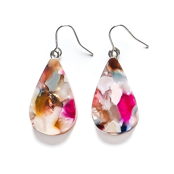 Colourful teardrop resin earrings in abstract brown, white and pink patterns