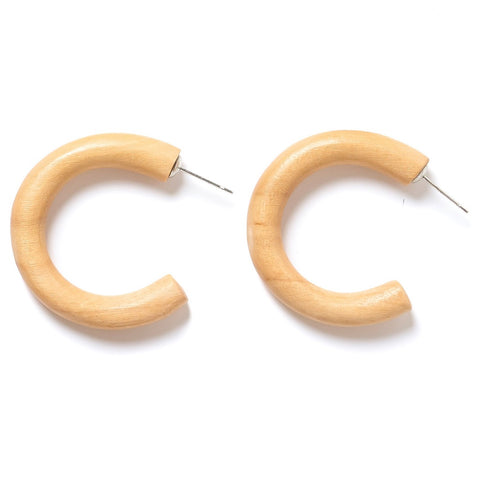 light natural wood hoop earrings