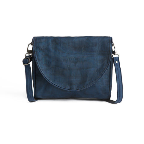 Ava nylon bag by Smarteria - navy semi-circle foldover flap with navy nylon net body and adjustable long shoulder strap - Shop Fair Trade, Handmade, Ethical, Sustainable accessories & gifts Melbourne at ONLY JUST