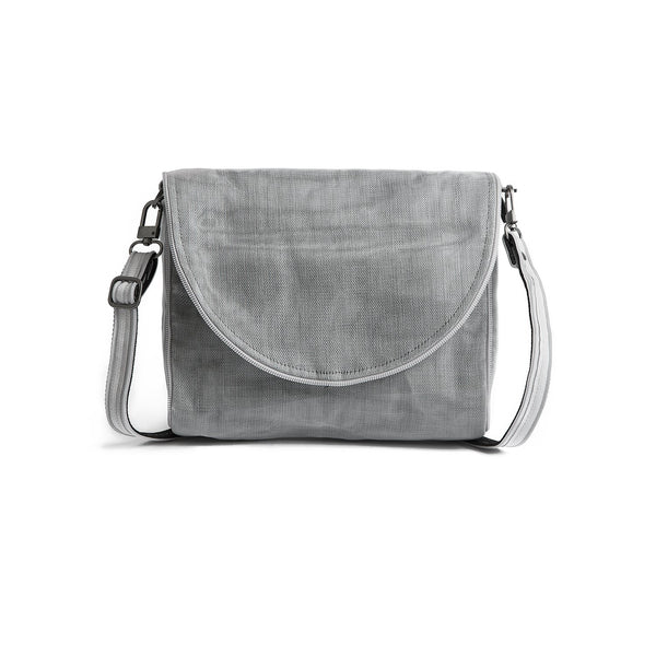 Ava nylon bag by Smarteria - grey semi-circle foldover flap with nylon net body and adjustable long shoulder strap - Shop Fair Trade, Handmade, Ethical, Sustainable accessories & gifts Melbourne at ONLY JUST