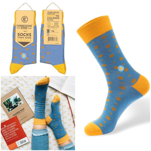 socks that give books - blue and yellow