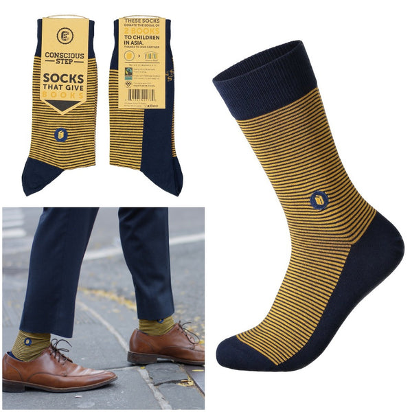 socks that give books - navy and yellow stripes