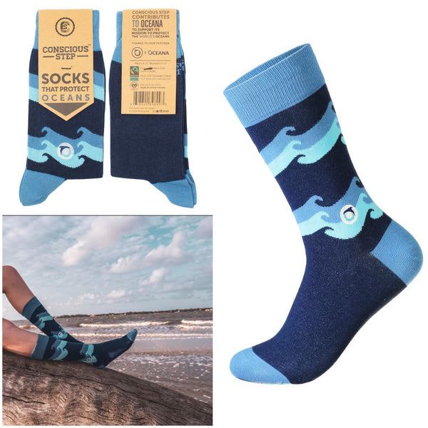 socks that protect oceans - blue waves