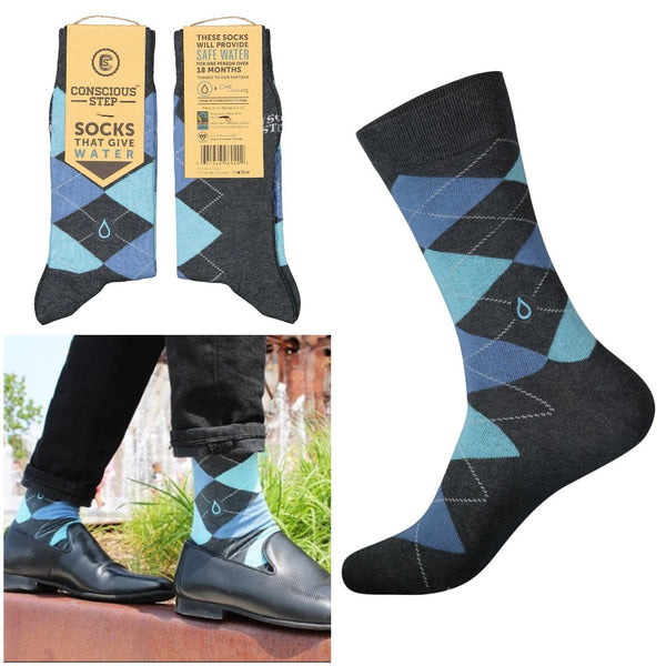 socks that give water - blue argyle