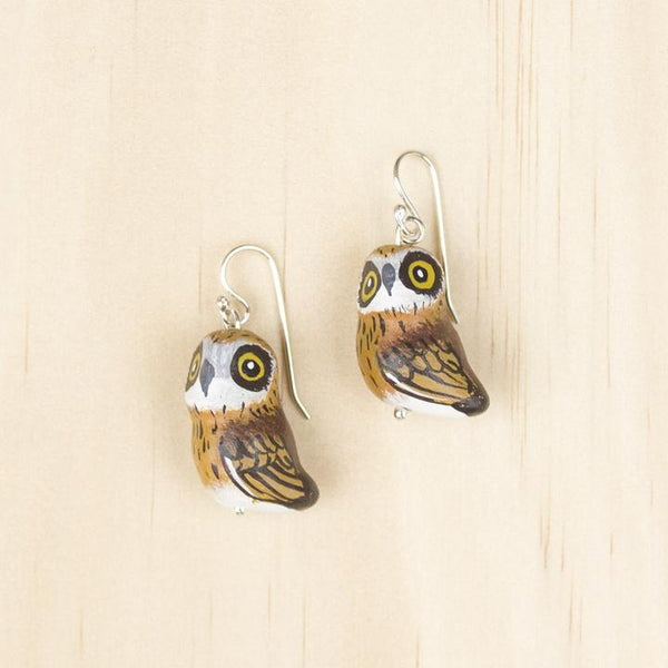 Songbird earrings boobook owl - Shop Fair Trade, Handmade, Ethical Gifts & Jewellery Australia at ONLY JUST.