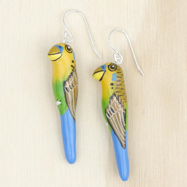 Songbird earrings budgerigar - Shop Fair Trade, Handmade, Ethical Gifts & Jewellery Australia at ONLY JUST.