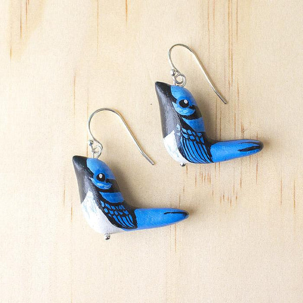 Songbird earrings fairy wren - Shop Fair Trade, Handmade, Ethical Gifts & Jewellery Australia at ONLY JUST.