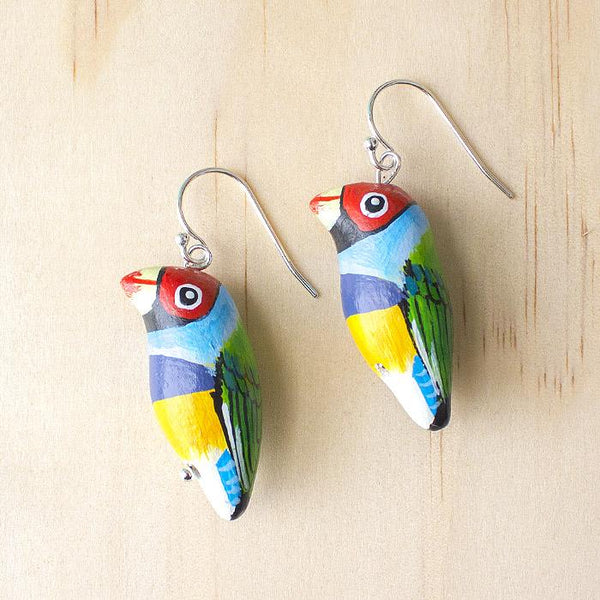 Songbird earrings gouldian finch - Shop Fair Trade, Handmade, Ethical Gifts & Jewellery Australia at ONLY JUST.