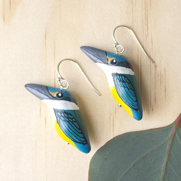 Songbird earrings sacred kingfisher -Shop Fair Trade, Handmade, Ethical Gifts & Jewellery Australia at ONLY JUST.