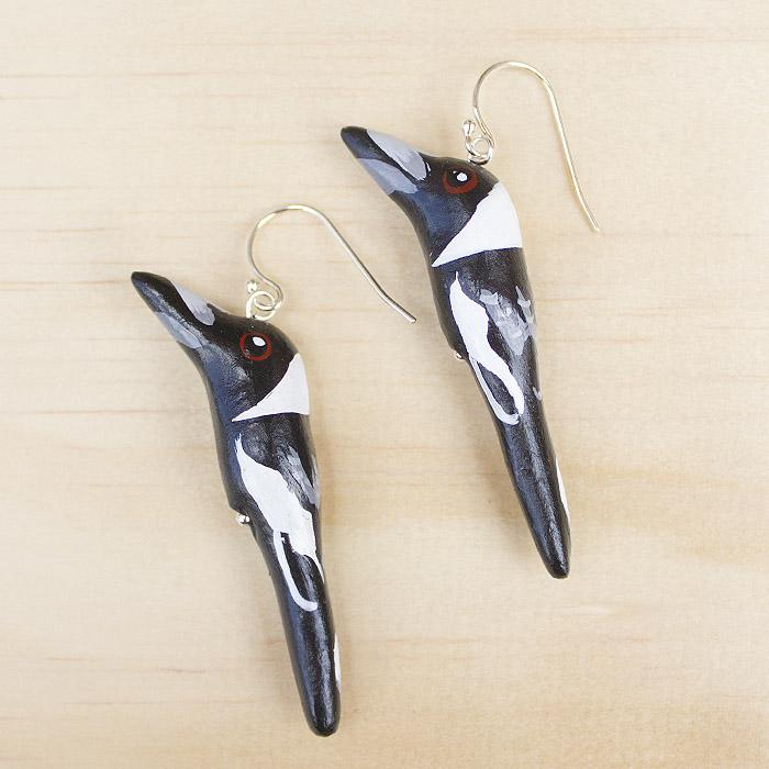 Songbird earrings magpie - Shop Fair Trade, Handmade, Ethical Gifts & Jewellery Australia at ONLY JUST