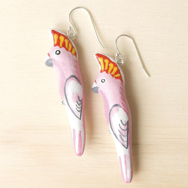 Songbird earrings major mitchell cockatoo - Shop Fair Trade, Handmade, Ethical Gifts & Jewellery Australia at ONLY JUST.