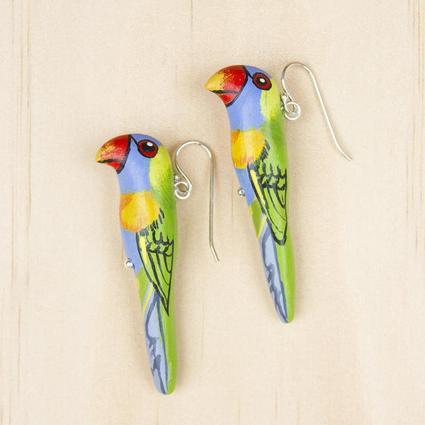 Songbird earrings rainbow lorikeet - Shop Fair Trade, Handmade, Ethical Gifts & Jewellery Australia at ONLY JUST.