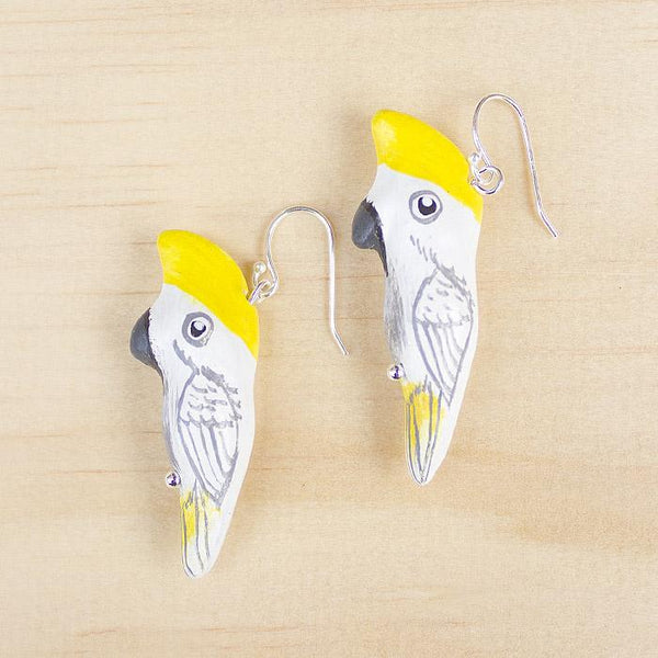 Songbird earrings sulfur-crested cockatoo - Shop Fair Trade, Handmade, Ethical Gifts & Jewellery Australia at ONLY JUST.