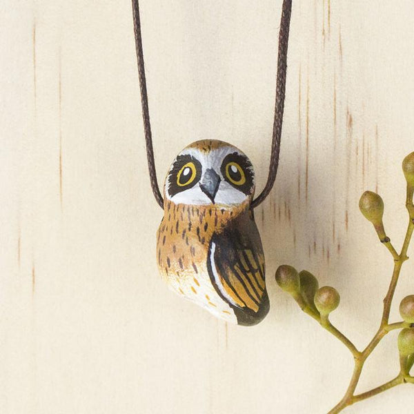 Songbird necklace boobook owl - Shop Fair Trade, Handmade, Ethical Gifts & Jewellery Australia at ONLY JUST.