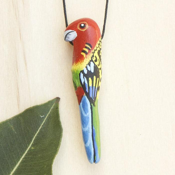 Songbird necklace eastern rosella - Shop Fair Trade, Handmade, Ethical Gifts & Jewellery Australia at ONLY JUST.