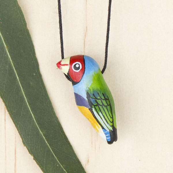 Songbird necklace gouldian finch - Shop Fair Trade, Handmade, Ethical Gifts & Jewellery Australia at ONLY JUST.
