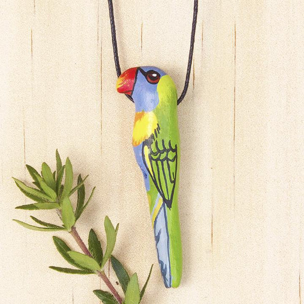 Songbird necklace rainbow lorikeet- Shop Fair Trade, Handmade, Ethical Gifts & Jewellery Australia at ONLY JUST.